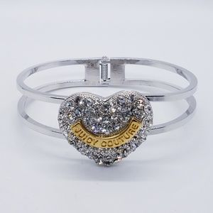 Juicy Couture Puffy Crystal Heart Hinge Bangle